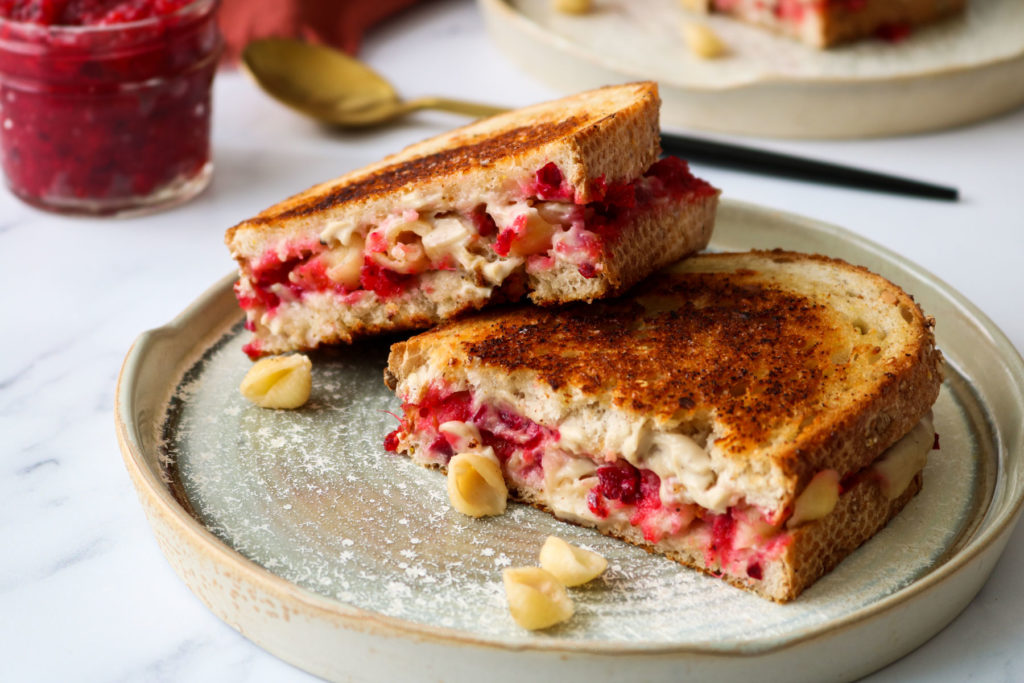 vegan grilled cheese with thanksgiving leftovers