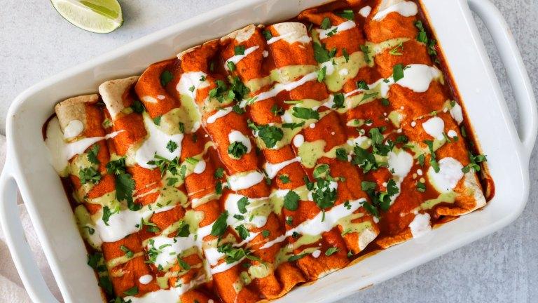 Spicy Sweet Potato and Pinto Bean Vegan Enchiladas Recipe