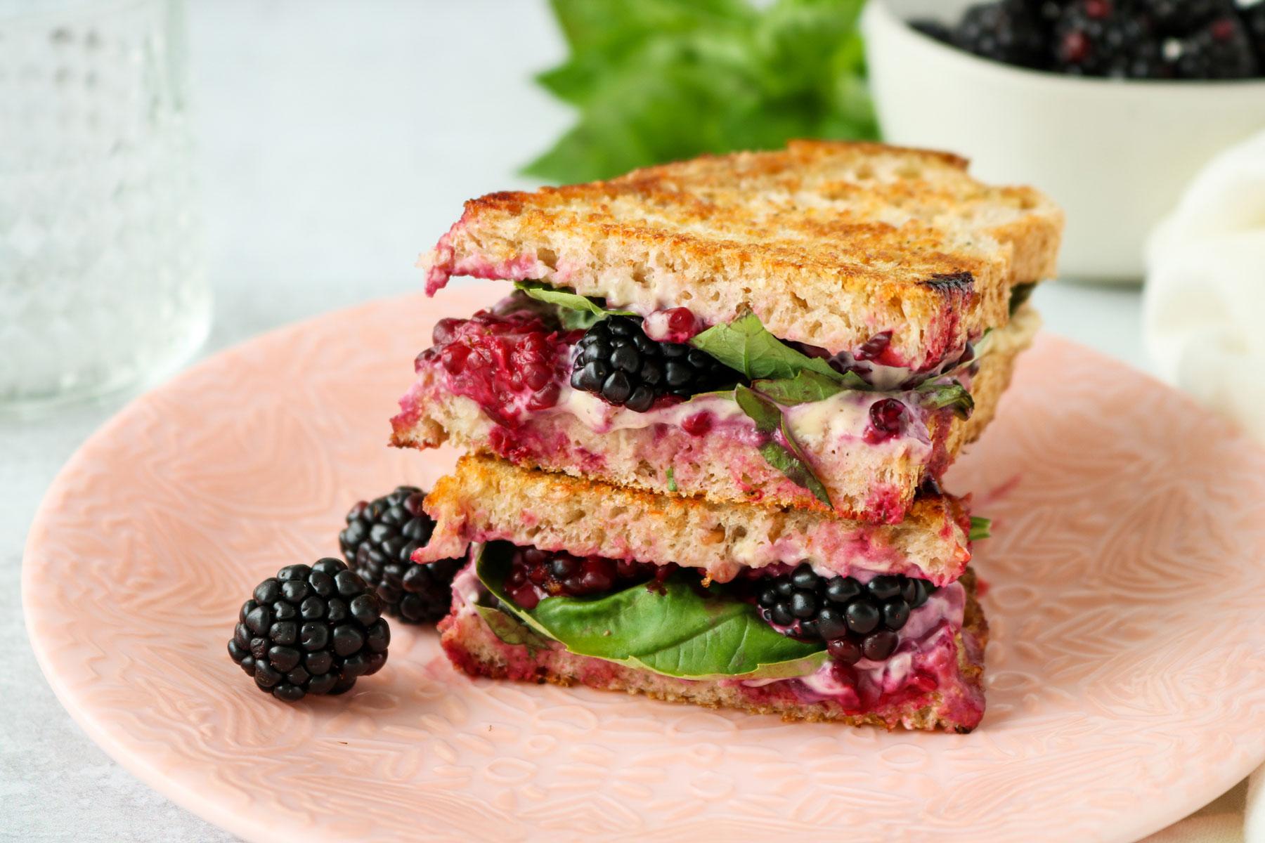 Blackberry & Basil Vegan Grilled Cheese Recipe