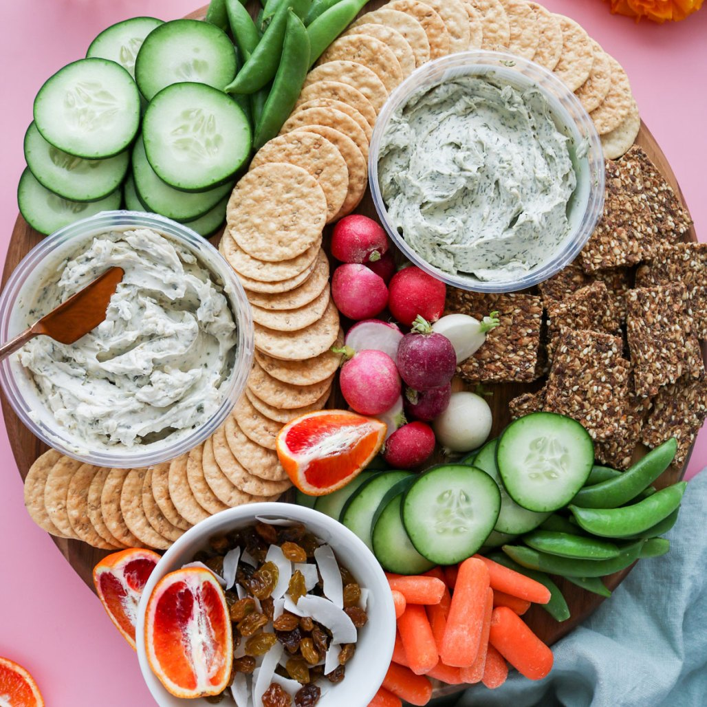 spring vegan cheese board