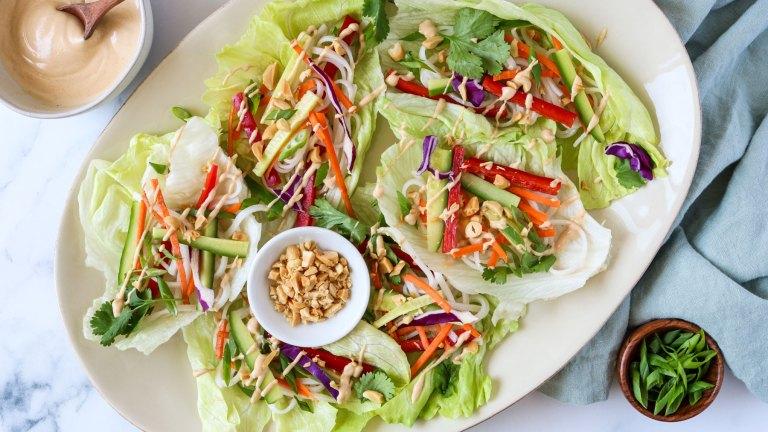 Vegan Lettuce Wraps with Sriracha Peanut Sauce Recipe