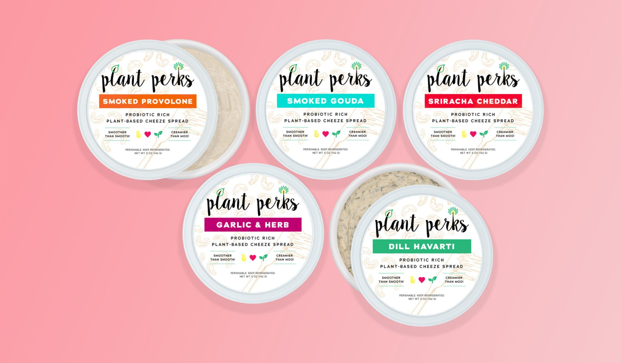 All Probiotic Rich Cheeze Containers Tops with Spread Textures Pink background