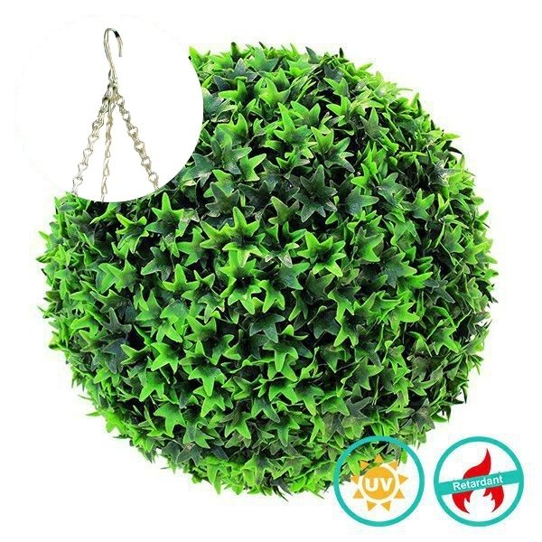 Artificial Hanging Topiary Ball with Ivy Leaves C024