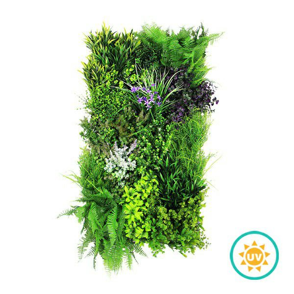Artificial Green Garden with Purple Flowers H005