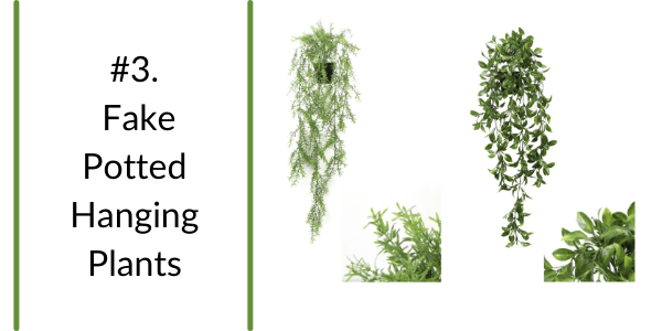 trendy hanging fake potted plants