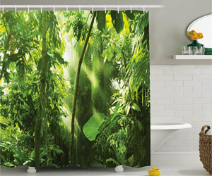 jungle shower curtain decorating