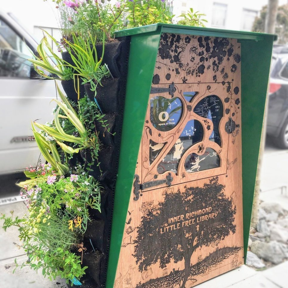 Inner Richmond Little Free Library by Alec Hawley using Florafelt Vertical Garden Planters