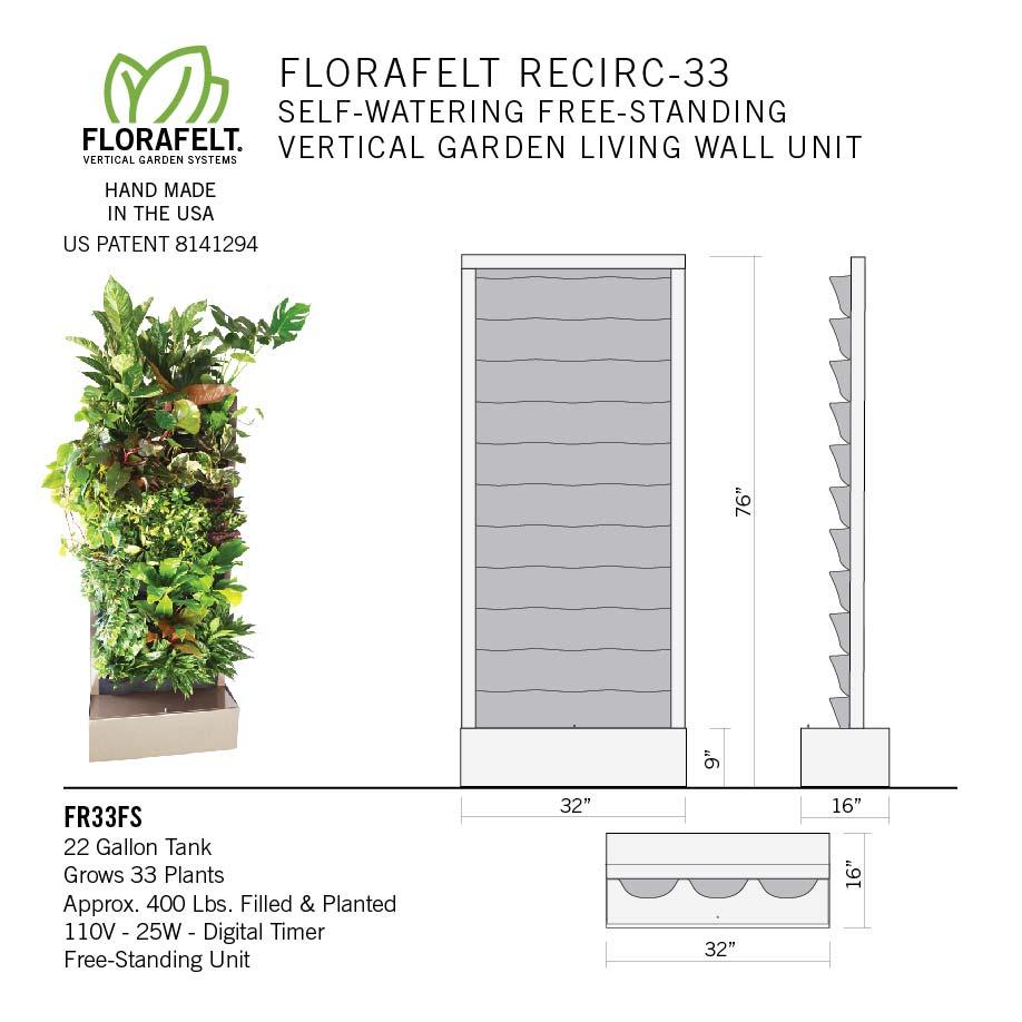 Florafelt Recirc 33-Pocket Free-Standing Vertical Garden Specs