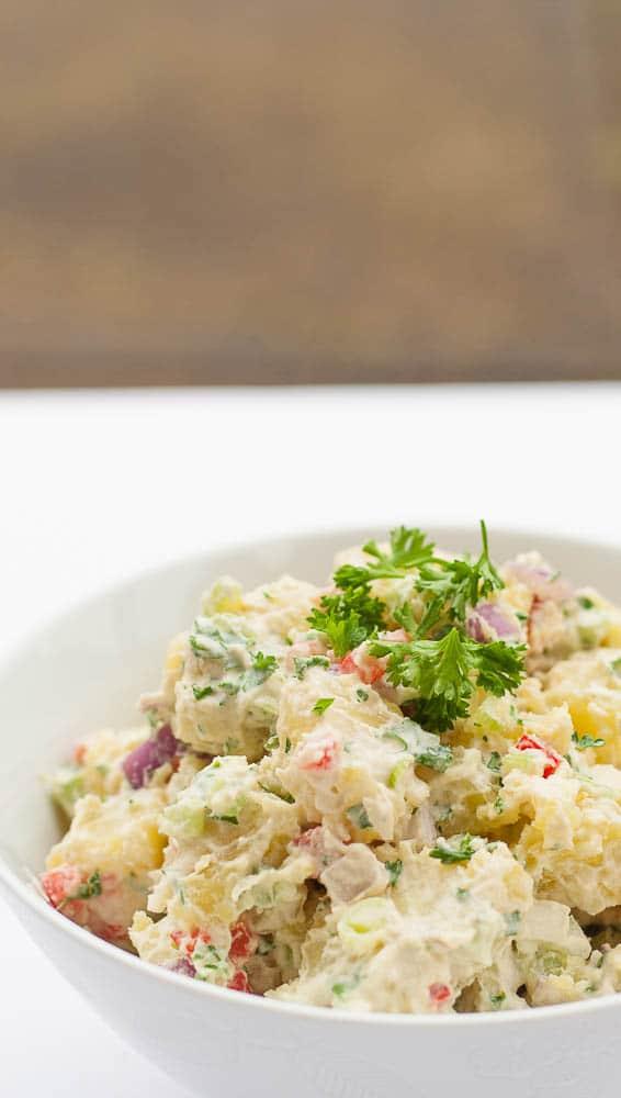 vegan potato salad in a bowl