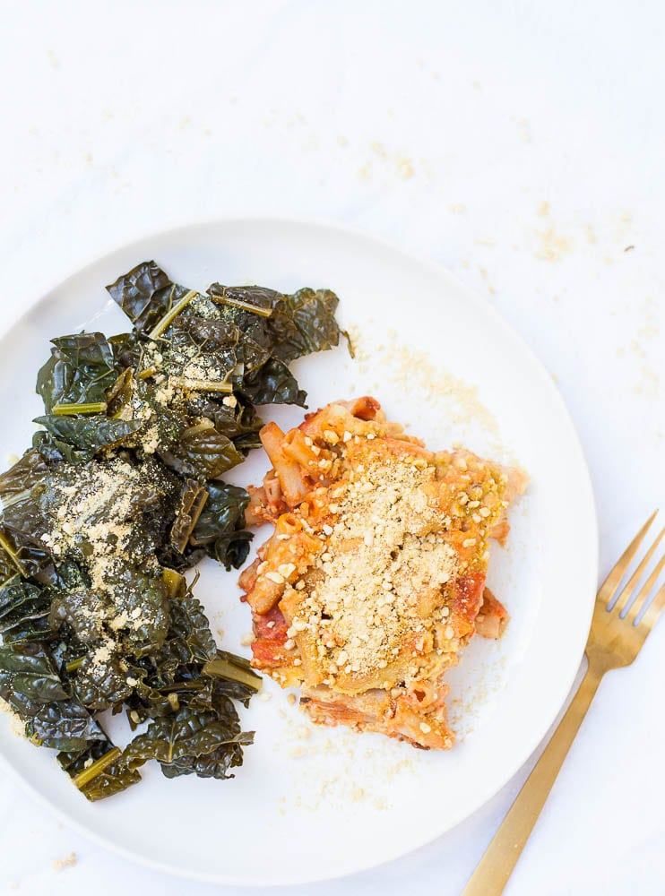 Quick and Easy Vegan Baked Ziti with Cashew Cheese