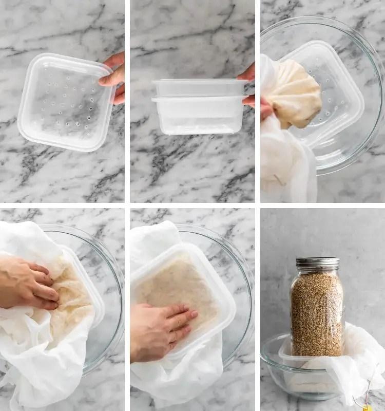 drenagem e prensagem do tofu caseiro