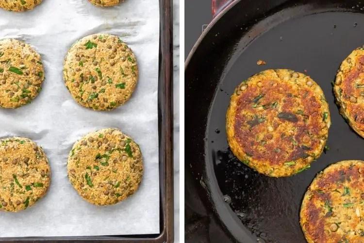 hambúrguer de lentilha assado e frito