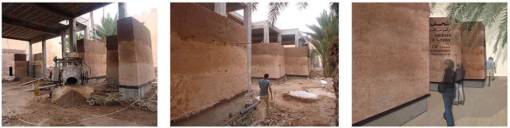 Figure 16 : Vue extérieure du bâtiment Le socle en béton présente un  léger porte-à-faux pour mieux mettre en valeur le pisé dans les vues extérieures du bâtiment et souligner ainsi son emploi. Le mur de pisé présente un parement  pyramidal  calculé en fonction des hauteurs finales du bâtiment (de 5 à 8,5 m.)