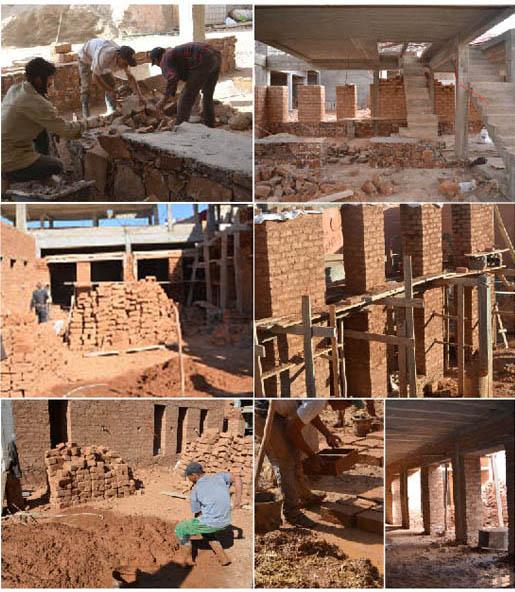 Figure 19 : Work in progress, le bâtiments en cours de construction : pierres de soubassements sur structure partielle en béton armé, adobes pour les parois pour une épaisseur permettant une bonne isolation themique (60 à 80 cm), Salima Naji ©.