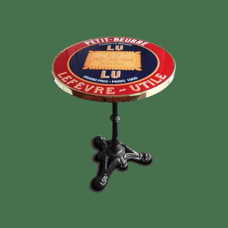 table de bistrot emaillee en relief diametre 60 cm petit beurre lu