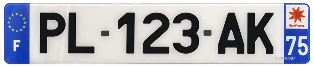 Plaque d'immatriculation auto en plexiglas