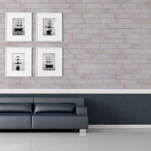 Plaqueta Semimanual Blanca Arenosa 22×6,5x1cm Refrentada