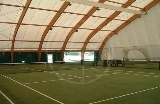 Wooden tent structure for 2 tennis courts - Alba ( Italy )