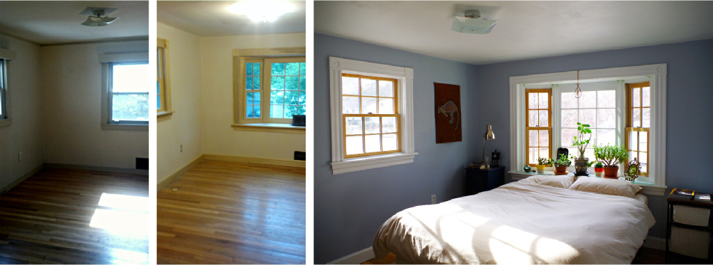 Renovation for open space and light - Bedroom windows and trim upgrade before and after - Plaster & Disaster