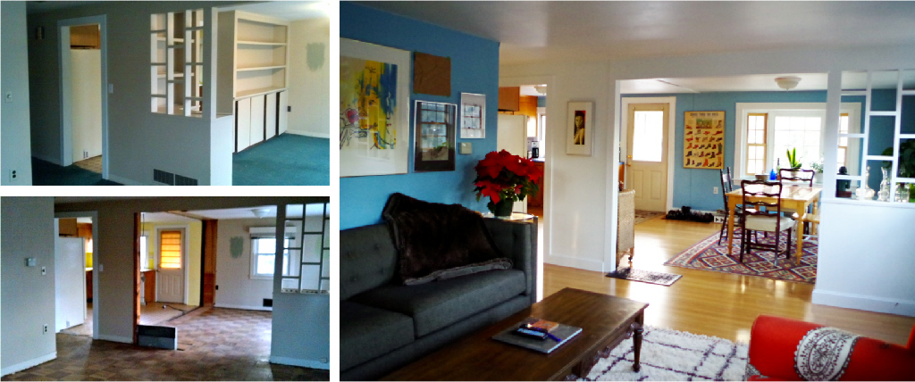 Renovation for open space and light - View from the living room before and after - Plaster & Disaster
