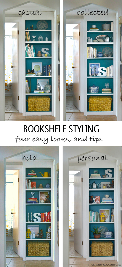 Bookself Styling - four easy looks and tips - Plaster & Disaster