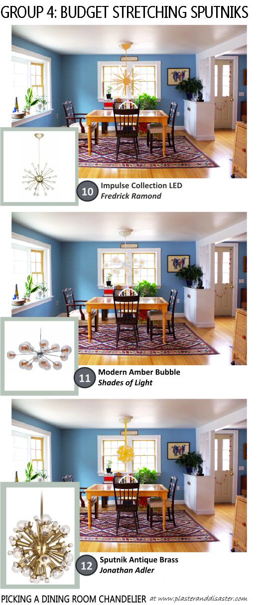 Picking a Dining Room Chandelier - Budget Stretching Sputniks - Plaster & Disaster