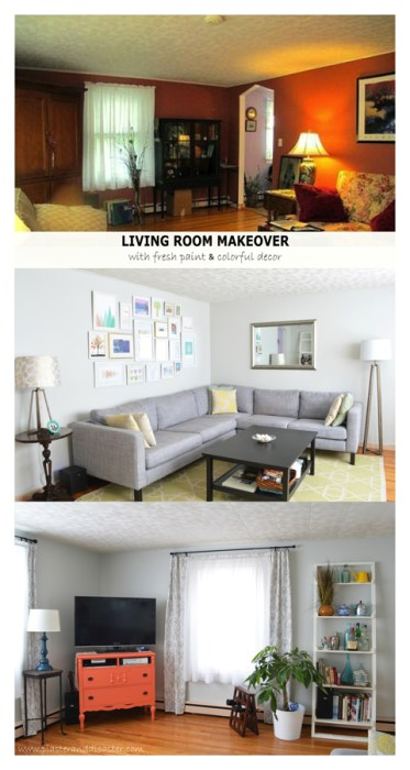 Fresh paint and furnishings for a colorful and bright living room makeover -- Plaster & Disaster