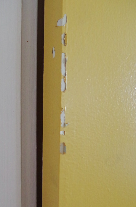 What not to do when painting doors and hardware - what happens when you use hinges that are too small - Plaster & Disaster