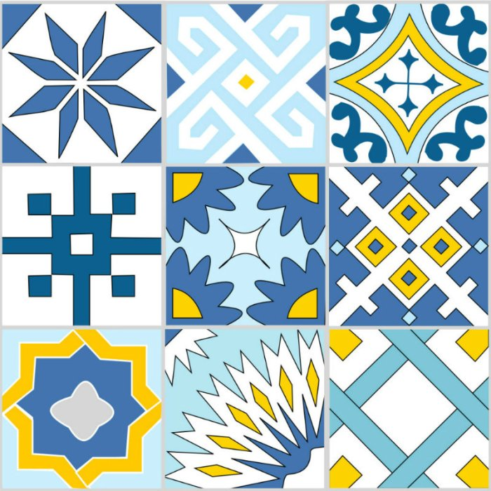 Designing my own shower curtain - the nine tiles I created - Plaster & Disaster