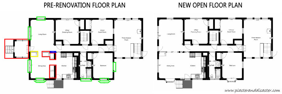 Floor Plan Before and After Renovation - Plaster & Disaster
