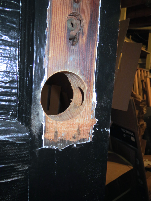 Home improvement - drilling a bigger hole in a door for new hardware -- Plaster & Disaster