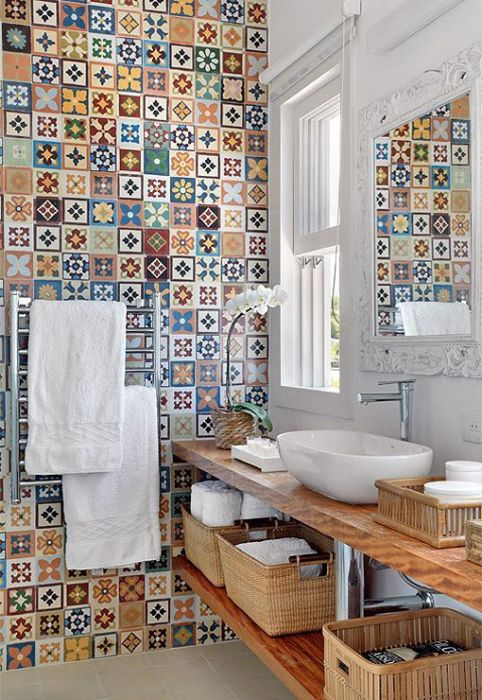 Inspirational image seen on decoratrix.com - mismatched tile - Plaster & Disaster