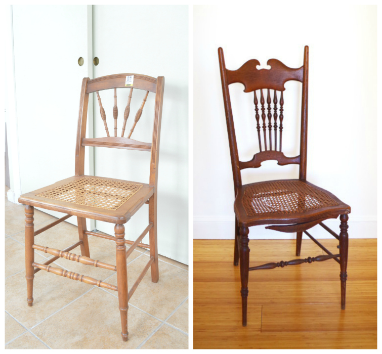 Making over thrift store cane chairs -- Plaster & Disaster