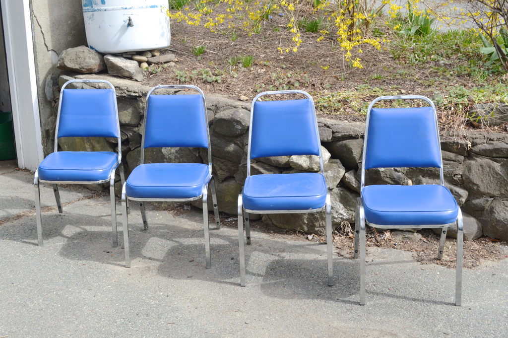 Salvaged school chairs -- Plaster & Disaster