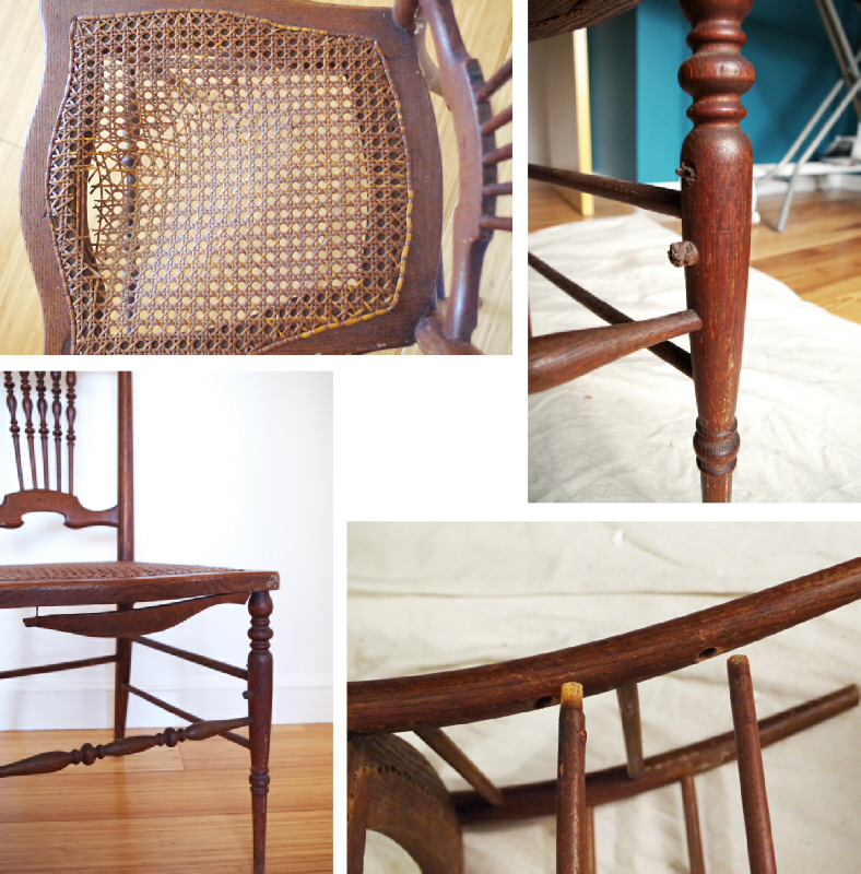 Dual(ing) Makeovers of Thrift Store Cane Chairs – Plaster & Disaster