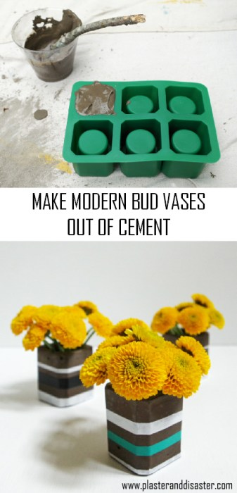 Make modern cement bud vases - an easy beginner cement project! - Plaster & Disaster