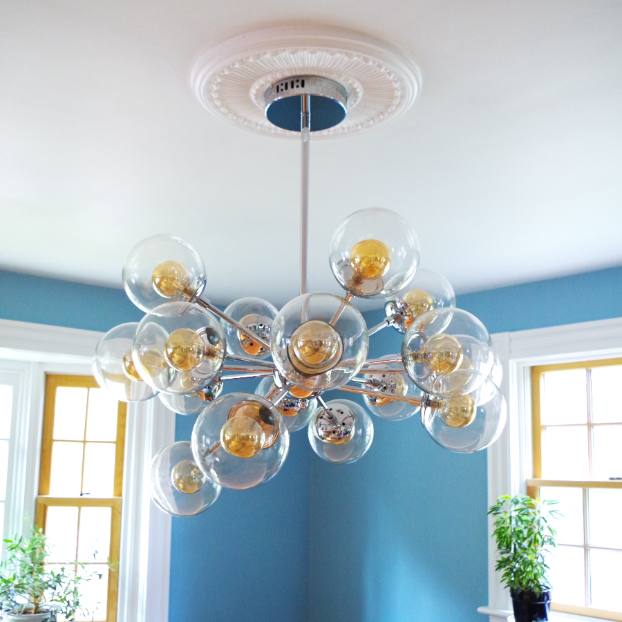 Finally A Chandelier And How To Install A Ceiling Medallion Plaster Disaster