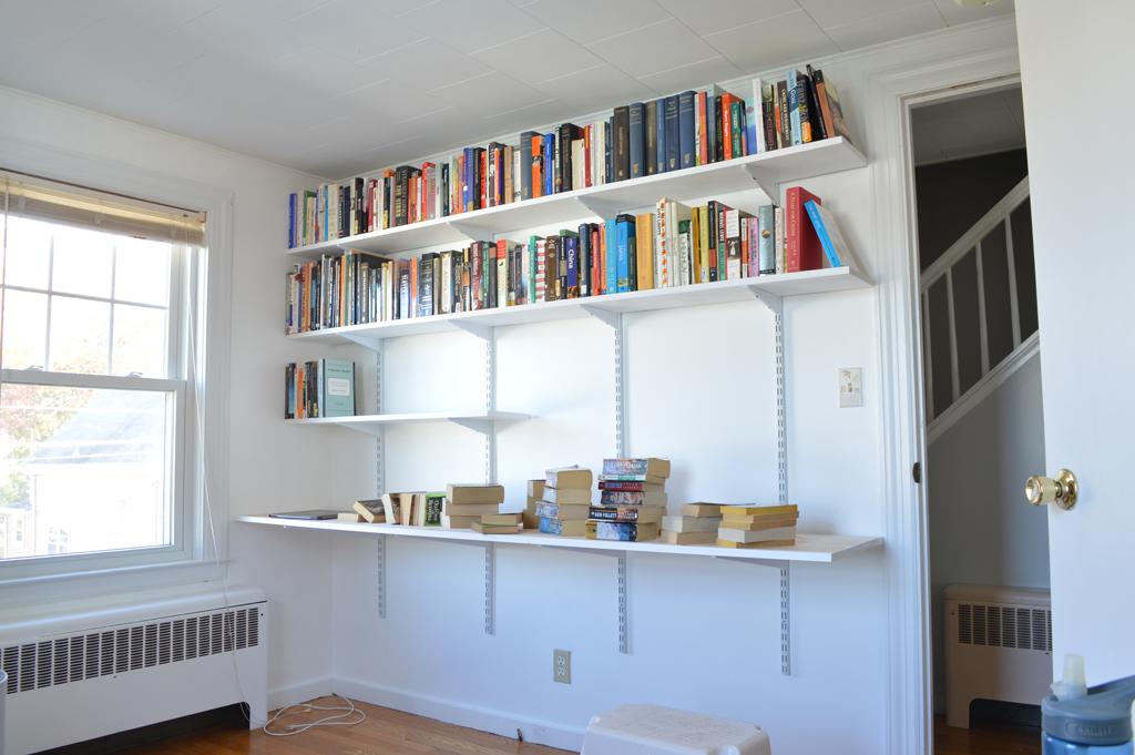 Installing a hanging shelf and desk system 6