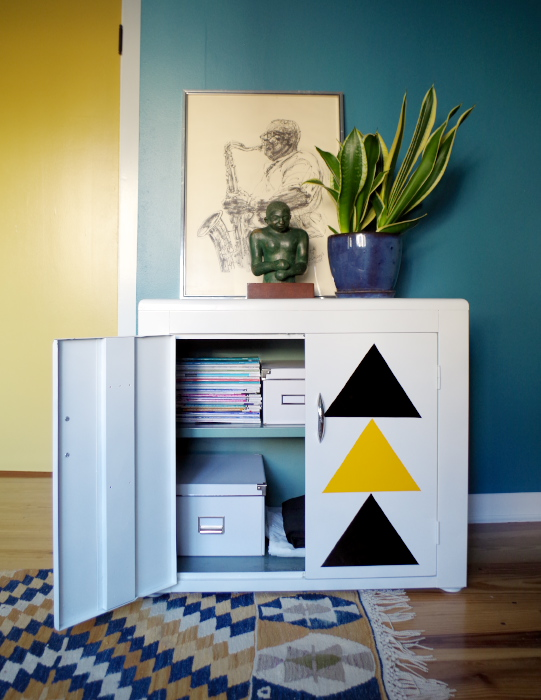 Graphic Cabinet Makeover with Adhesive Vinyl - Plaster & Disaster