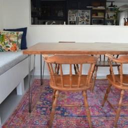 DIY hairpin leg dining table -- Plaster & Disaster