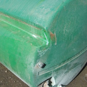 Boomspray tank - Showing repair on corner of mounting channel