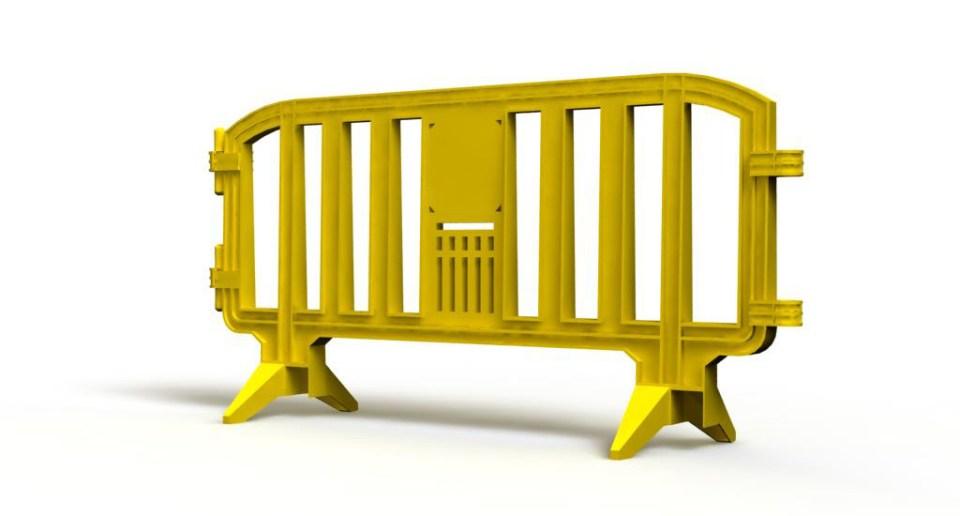 Yellow plastic barrier