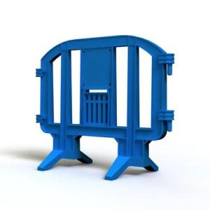 Blue plastic barrier