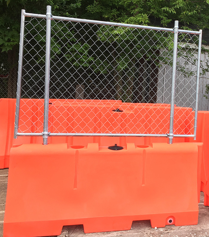 Water Barriers with Chain Link Fencing