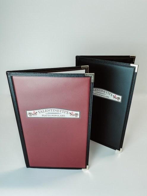 Stitch edge menus with digital print logo