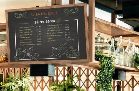 Large format menu board for cafe