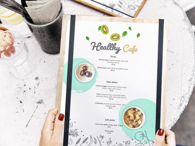 Wood board menu sample with menu design