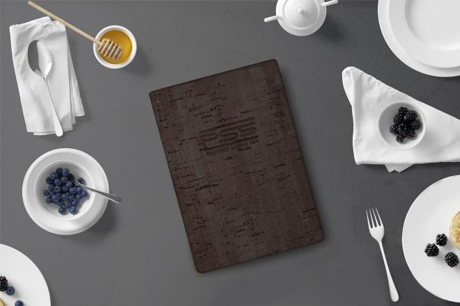 Dark cork menu cover