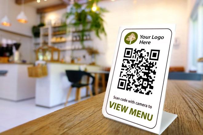 QR code menu sign