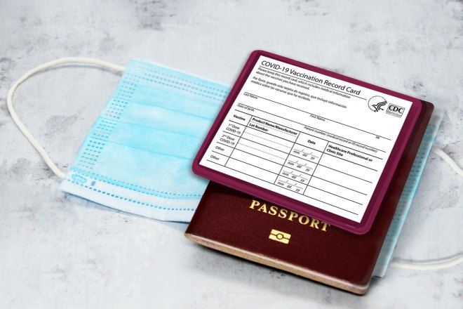 vaccination card holder with passport